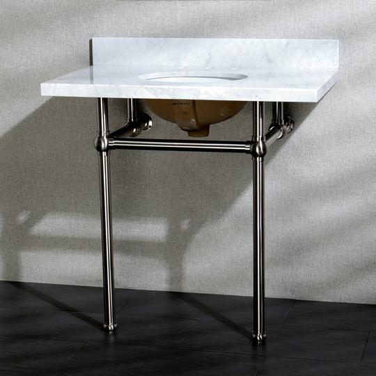 "36"" X 22"" Marble Vanity Top w/Brass Console Legs"
