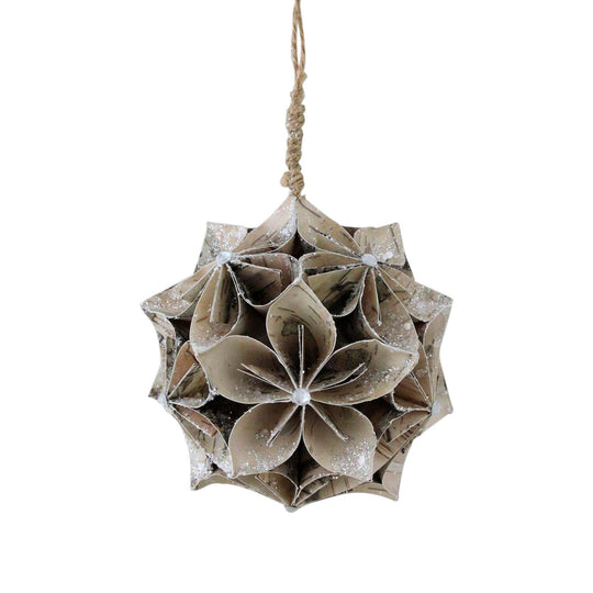 "4.5"" Glittered Wood Grain Flower Ball Christmas Ornament"