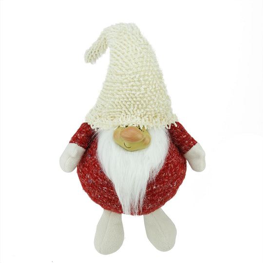 "15"" Textured Red And Ivory Chubby Smiling Gnome Plush Table Top Christmas Figure"