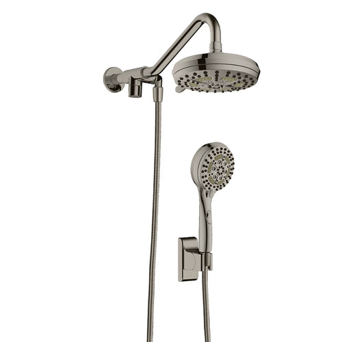High Pressure Dual Shower Head System - Water Saving Shower Head With 6 Shower Spray Functions
