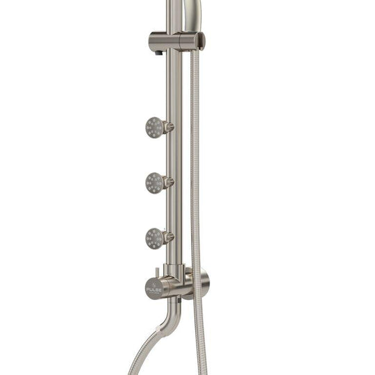 "Riviera Chrome Finish Shower System W/ Multi Function Hand Shower - 8"" Rain Showerhead - Adjustable - 3 Dual-Function Shower Jet System"