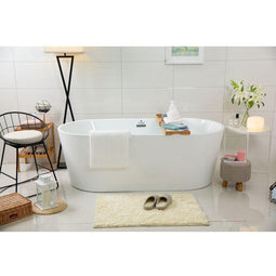 "Stand Alone Tub W/Lumbar Support & Centre Drain Spa Shower Tub- 67""L X 31.5""W X 23""D - White Finish"