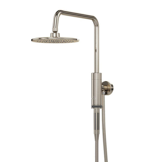 Dual Shower Head And Handheld Shower Head W/ Low Flow - 1 Spray 8 In Shower Head With Hose - Brushed Nickel