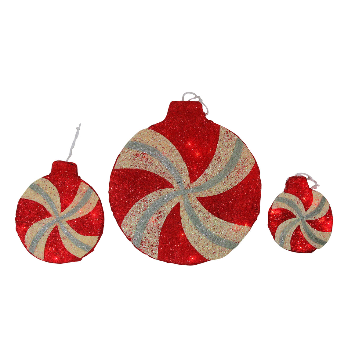 Set of 3 Peppermint Twist Lighted Red Glitter Sisal Christmas Window Decorations