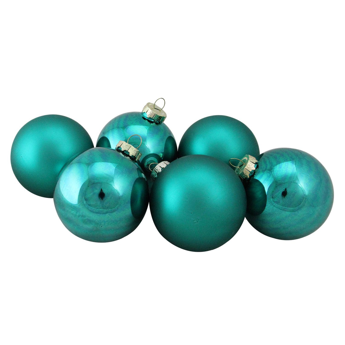 6-Piece Shiny and Matte Turquoise Blue Glass Ball Christmas Ornament Set 3.25