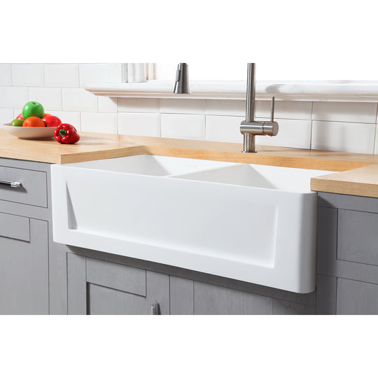 "Gourmetier 36"" x 18"" Solid Surface Double Bowl Farmhouse Kitchen Sink, Matte White"