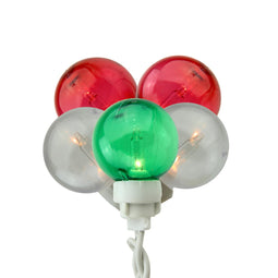 Set of 100 Green  Red and White G30 Globe Icicle Christmas Lights - White Wire