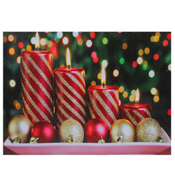 LED Lighted Christmas Candles with Ornaments Canvas Wall Art 11.75