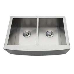Gourmetier Drop-In Stainless Steel Double Bowl Farmhouse Kitchen Sink, Brushed