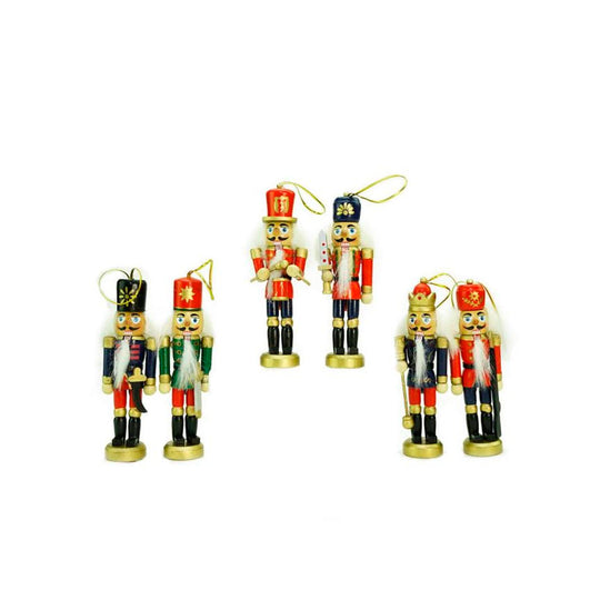 Pack Of 6 Red  Blue And Gold Wooden Christmas Nutcracker Ornaments 5""