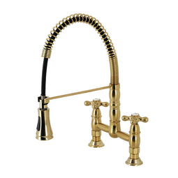 Gourmetier Heritage Two Handle Deck Mount Pull Down Sprayer Kitchen Faucet