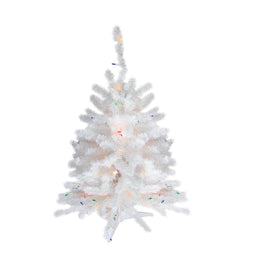3' Pre-Lit Snow White Artificial Christmas Tree - Multi Lights