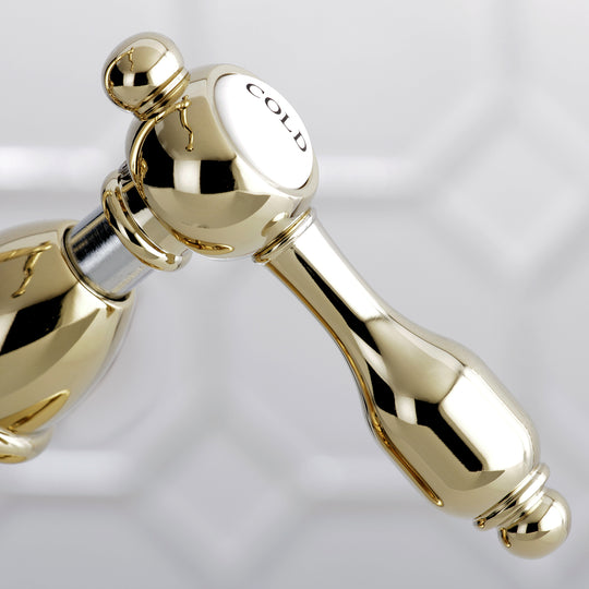 Tudor Two Handle Bathroom Faucet With Brass Pop Up And Cover Plate
