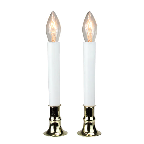 Set of 2 Warm White Brass Colored Plated Christmas Candle Lamps- Warm White C7 Light