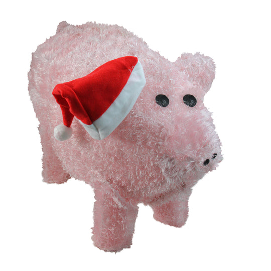 "28"" Pre-Lit LED Outdoor Chenille Pig in Santa Hat Christmas Outdoor Decoration"