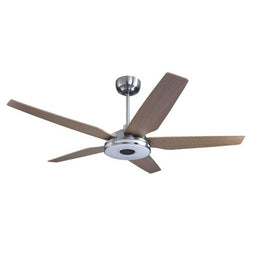 5-Blade Smart Ceiling Fan With LED Light Kit & Remote - Silver/Light Wood
