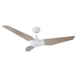 3 Blade Smart Ceiling Fan with LED Light Kit & Remote-White/Wooden Pattern