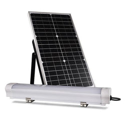36W LED Solar Batten Light Set - 6000K - IP67 Rated W/ 80W Solar Panel - CRI >80 - 12H+ Battery Life