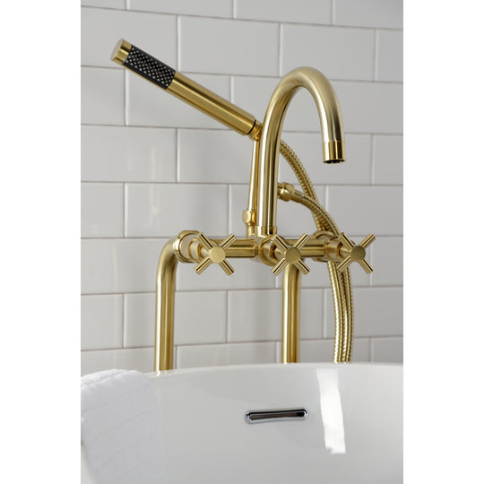 Aqua Vintage Concord Freestanding Tub Faucet With Supply Line, Stop Valve
