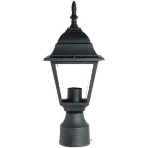 Carriage Style Decorative Post Mount Outdoor Fixture - Clear Beveled Glass - Fits One 60W A19 CFL (Not Included)