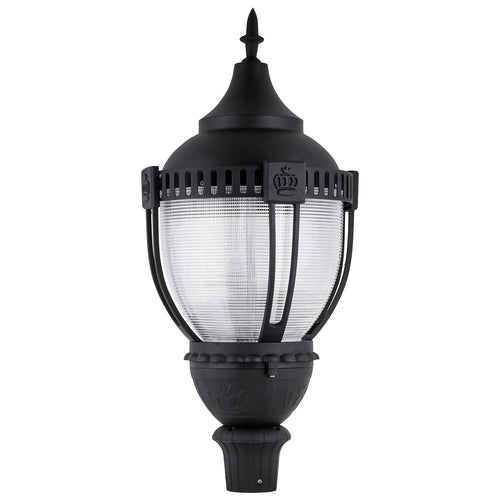 Commercial Outdoor Decorative Acorn LED Pole-Top Fixture - DLC Listed - Dimmable - 120-277V - 5000K - Frosted Black Finish