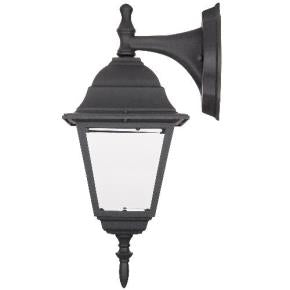Down-Facing Post Style Lamp - Outdoor Wall Lantern Light Fixtures - Clear Beveled Glass - Fits One 60W A19 Bulb (Not Included)