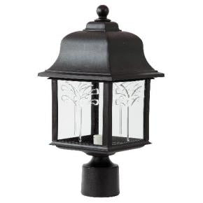 Orchid Style Decorative Outdoor Post Fixtures - 120V - 2700K - Clear Lens - Fits One 60W A19 CFL (Not Included)