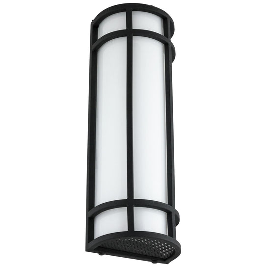 LED Mission Style Wall Sconce, 20 Watts, 1000 Lumens, Outdoor Use, Black Finish,  18 Inch