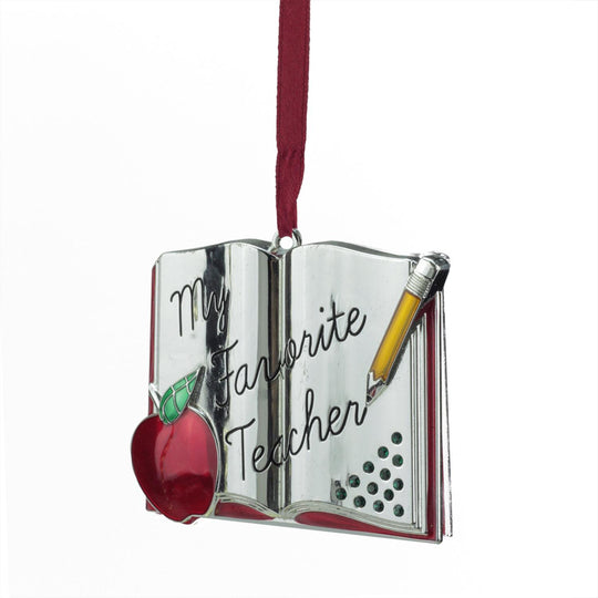 "3.25"" Regal Silver Plated ""My Favorite Teacher"" Holiday Ornament With European Crystal"