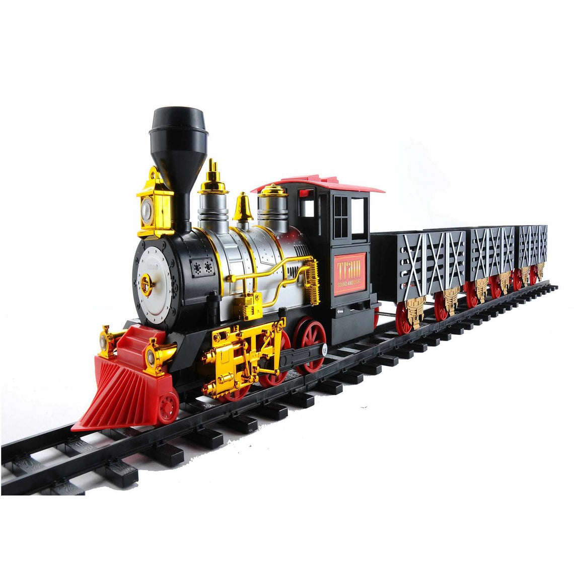 20-Piece Black and Red Battery Operated Lighted & Animated Classic Train Set with Sound
