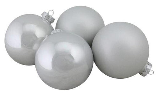 "4-Piece Shiny and Matte White Glass Ball Christmas Ornament Set 4"" (100mm)"