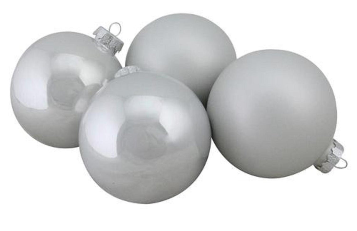 4-Piece Shiny and Matte White Glass Ball Christmas Ornament Set 4