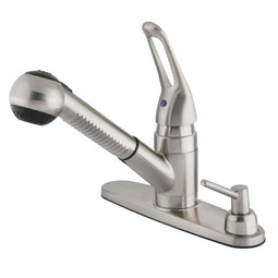 Water Saving Wyndham Pull Out Kitchen Faucet With Single Loop Handle, Matching Wand and Soap Dispenser, Brushed Nickel