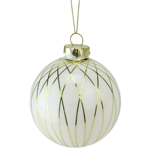 "3.25"" (80MM) Gilded White Christmas Gold Striped Glass Ball Christmas Ornament"
