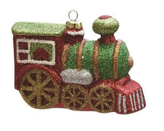 "4.25"" Merry & Bright Multi Colored Glitter Drenched Shatterproof Christmas Train Ornament"