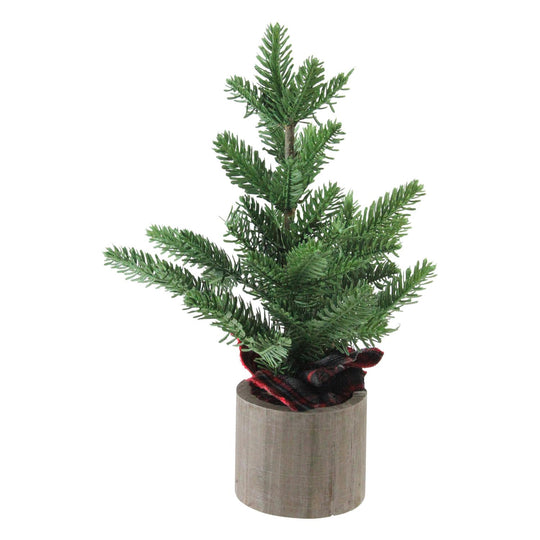 "16"" Artificial Pine Christmas Tree In Wooden Pot Table Top Decoration"