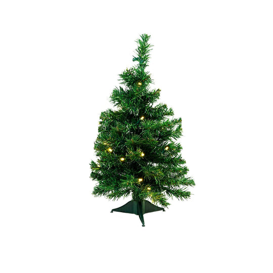 "2' x 14"" Pre-Lit Mixed Classic Pine Medium Artificial Christmas Tree - Warm Clear LED Lights"