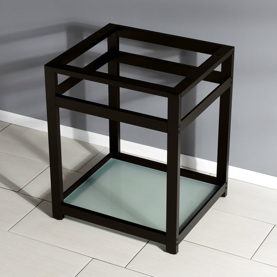 "Fauceture 25"" x 22"" Steel Console Sink Base with Glass Shelf"