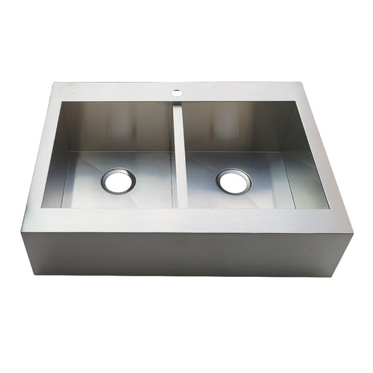 Gourmetier Edinburg Drop-In Double Bowl Kitchen Sink, Brushed
