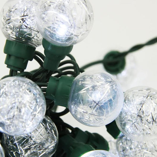 Set of 25 Clear Tinsel Wide Angle LED G30 Globe Wedding Christmas Lights - 16 ft Green Wire