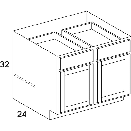 "39"" X 32"" X 24"" - 4.5H "" UD - Base Cabinet ( 2 Doors , 2 Drawers ) In Highland Haze"