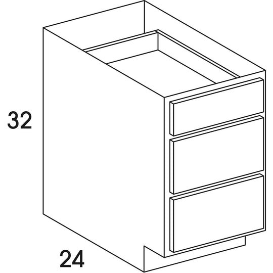 "12"" X 32"" X 24"" - 4.5H "" UD - Base Cabinet ( 3 Drawers ) In Sierra Haze"