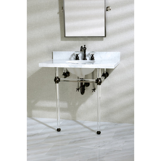 "Templeton 36"" X 22"" Marble Vanity With Sink And Acrylic Feet Combo"
