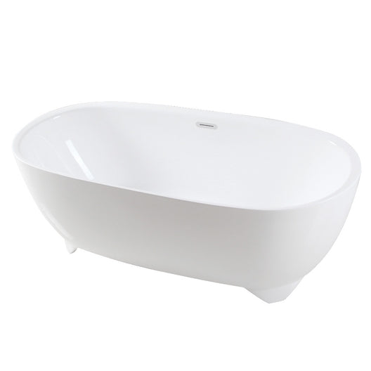 Acrylic Double Ended Freestanding Tub with Drain, White
