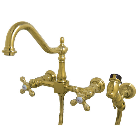 Heritage Two-Handle Wall Mount Bridge Kitchen Faucet With Brass Sprayer
