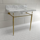 "Load image into Gallery viewer, Edwardian 36"" x 22"" Console Sink with Brass Legs (8-Inch, 3 Hole), Square Sink Basin"