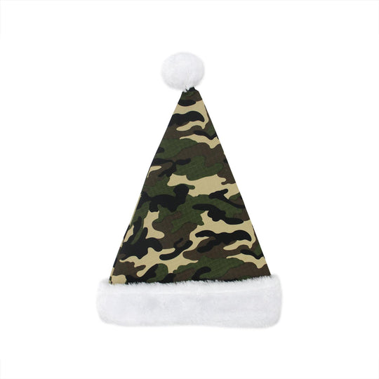 "18"" Camouflage Faux-Fur Cuffed Christmas Santa Claus Hat Accessory - Adult Size"