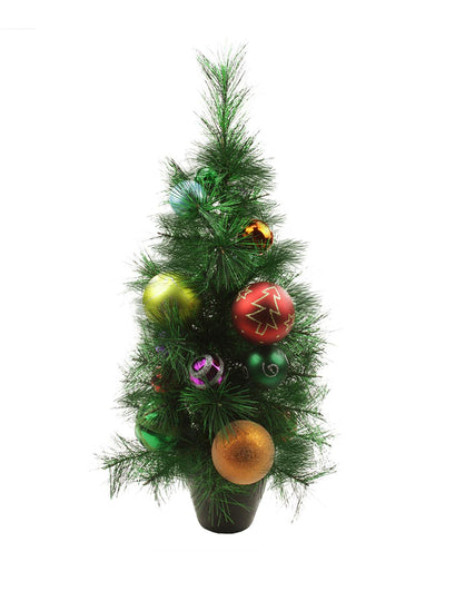 2' Potted Pre-Decorated Multi-Color Ball Ornament Artificial Christmas Tree - Unlit