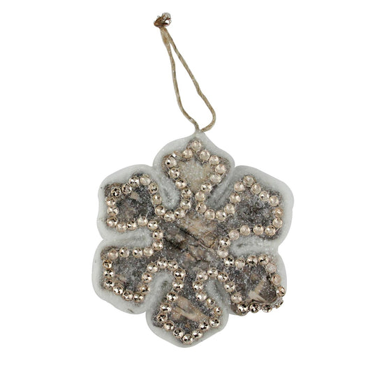 "4"" Embellished Wooden Snowflake Decorative Christmas Ornament"