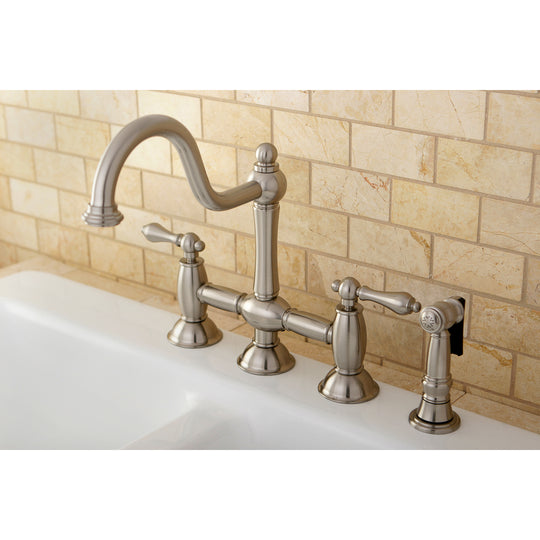 "Restoration Bridge Kitchen Faucet With Brass Sprayer In 8.5 "" Spout Height"